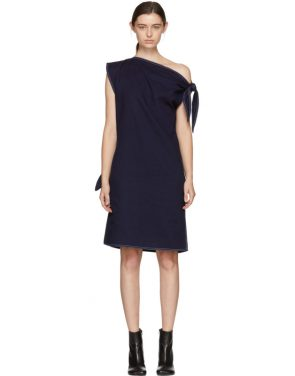 photo Navy Asymmetric Raw Denim Dress by MM6 Maison Martin Margiela - Image 1
