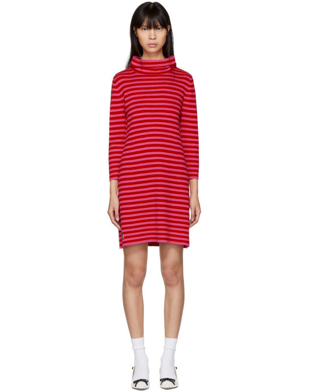 photo Red and Pink Striped Cowl Neck Dress by Marc Jacobs - Image 1