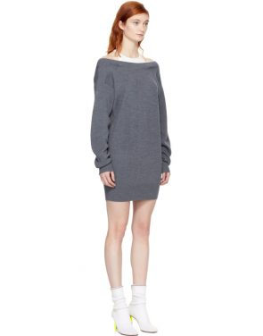 photo Grey and Off-White Bi-Layer Dress by T by Alexander Wang - Image 2