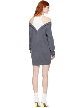 photo Grey and Off-White Bi-Layer Dress by T by Alexander Wang - Image 3