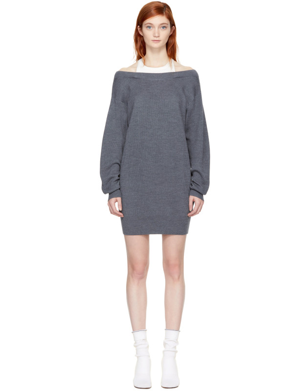 photo Grey and Off-White Bi-Layer Dress by T by Alexander Wang - Image 1