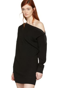 photo Black Snap Detail Off-the-Shoulder Dress by T by Alexander Wang - Image 4