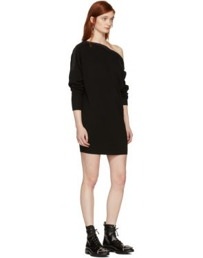 photo Black Snap Detail Off-the-Shoulder Dress by T by Alexander Wang - Image 5