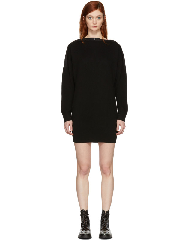 photo Black Snap Detail Off-the-Shoulder Dress by T by Alexander Wang - Image 1