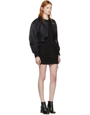 photo Black High Twist Side Tie Dress by T by Alexander Wang - Image 4