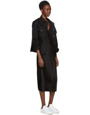 photo Black Wash and Go Slip Dress by T by Alexander Wang - Image 4