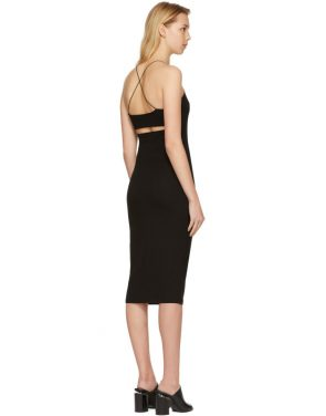 photo Black Fitted Back Slit Dress by T by Alexander Wang - Image 3