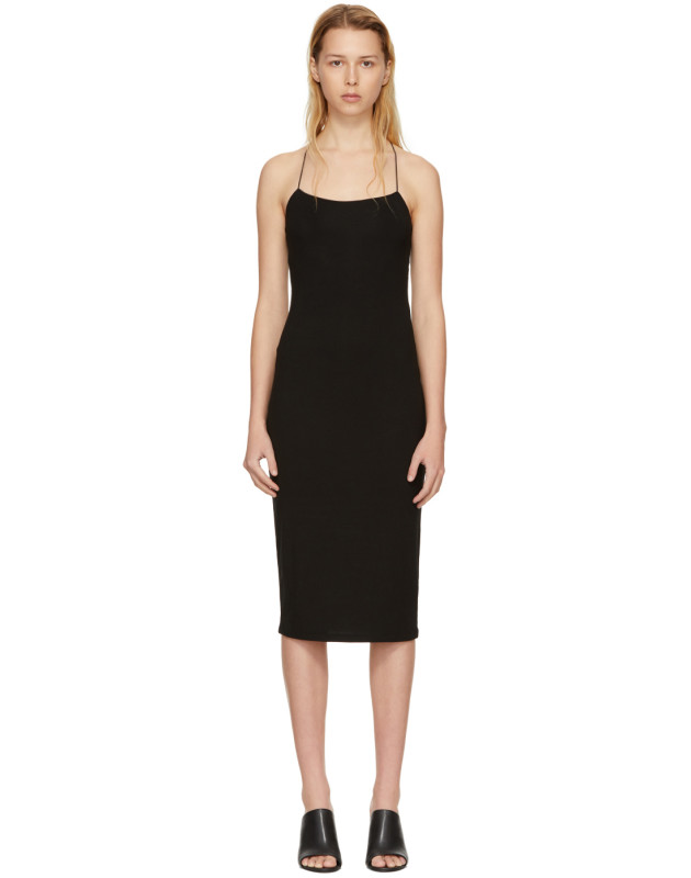 photo Black Fitted Back Slit Dress by T by Alexander Wang - Image 1