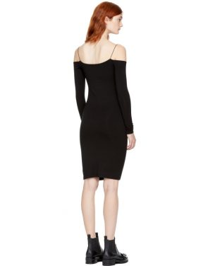 photo Black Long Sleeve Cut-Out Off-the-Shoulder Dress by T by Alexander Wang - Image 3