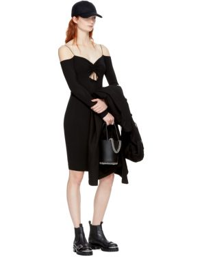 photo Black Long Sleeve Cut-Out Off-the-Shoulder Dress by T by Alexander Wang - Image 4