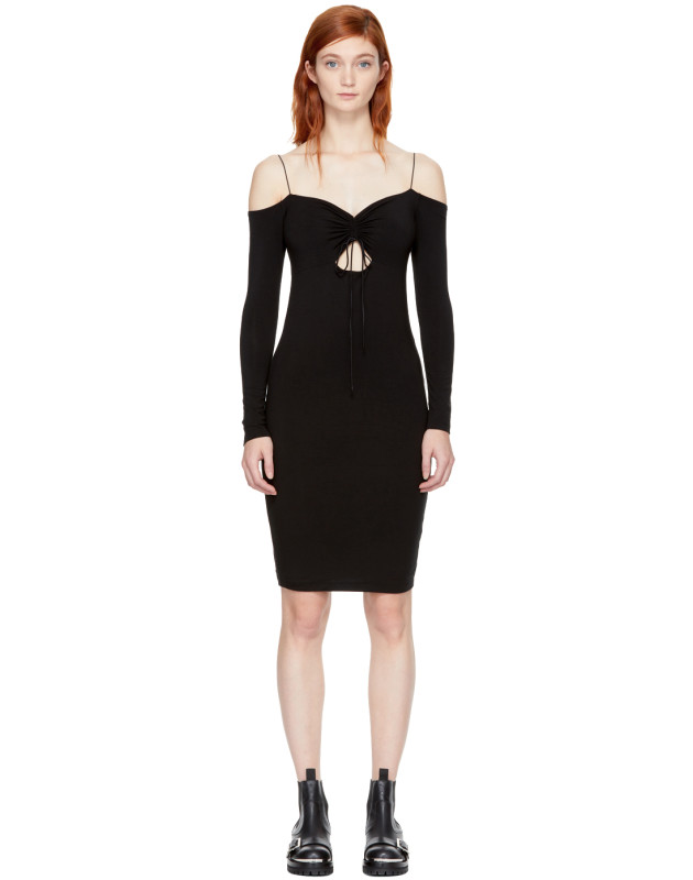 photo Black Long Sleeve Cut-Out Off-the-Shoulder Dress by T by Alexander Wang - Image 1