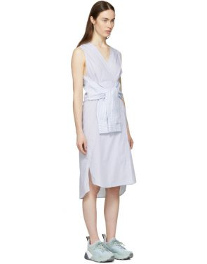 photo White and Blue Striped Shirting Tie Front Dress by T by Alexander Wang - Image 2