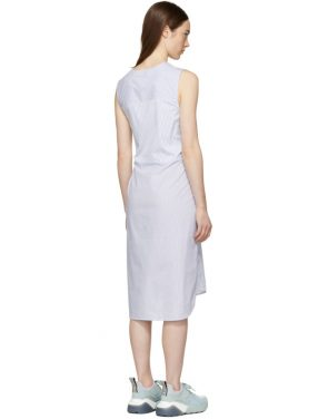 photo White and Blue Striped Shirting Tie Front Dress by T by Alexander Wang - Image 3