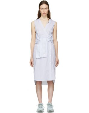 photo White and Blue Striped Shirting Tie Front Dress by T by Alexander Wang - Image 1