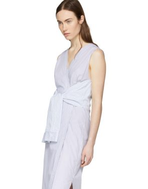 photo White and Blue Striped Shirting Tie Front Dress by T by Alexander Wang - Image 4