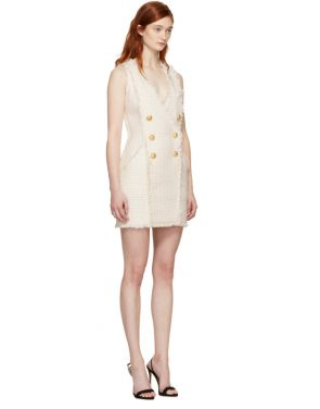 photo White and Ecru Tweed Mini Dress by Balmain - Image 2