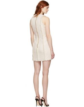 photo White and Ecru Tweed Mini Dress by Balmain - Image 3