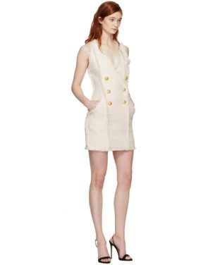 photo White and Ecru Tweed Mini Dress by Balmain - Image 4