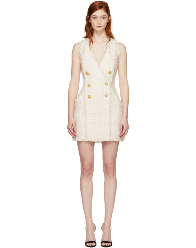 photo White and Ecru Tweed Mini Dress by Balmain - Image 1