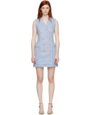 photo Blue Tweed Double-Breasted Dress by Balmain - Image 1