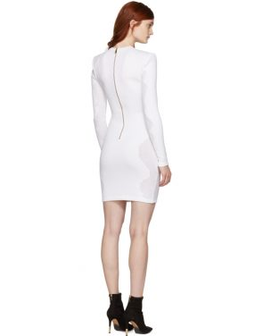 photo White Drop-Stitch Knit Dress by Balmain - Image 3