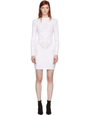 photo White Drop-Stitch Knit Dress by Balmain - Image 1