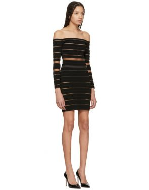 photo Black Sheer Striped Off-The-Shoulder Dress by Balmain - Image 2