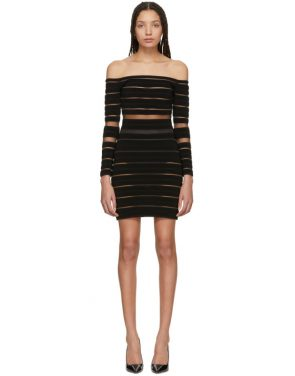 photo Black Sheer Striped Off-The-Shoulder Dress by Balmain - Image 1