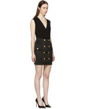 photo Black Sleeveless Gold Button Mini Dress by Balmain - Image 2