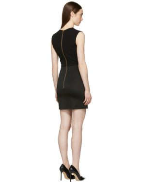 photo Black Sleeveless Gold Button Mini Dress by Balmain - Image 3
