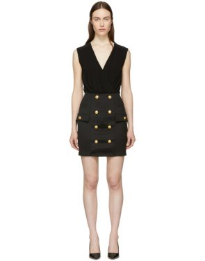 photo Black Sleeveless Gold Button Mini Dress by Balmain - Image 1