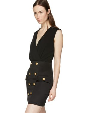 photo Black Sleeveless Gold Button Mini Dress by Balmain - Image 4