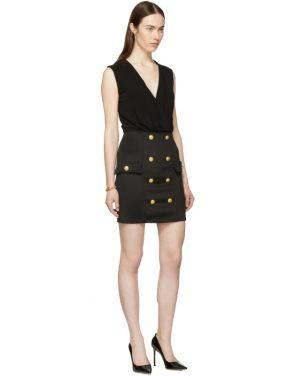 photo Black Sleeveless Gold Button Mini Dress by Balmain - Image 5