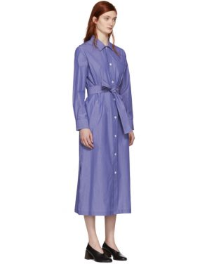 photo Blue and White Millie Shirt Dress by A.P.C. - Image 2