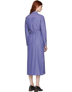 photo Blue and White Millie Shirt Dress by A.P.C. - Image 3