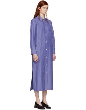 photo Blue and White Millie Shirt Dress by A.P.C. - Image 4