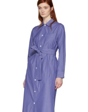 photo Blue and White Millie Shirt Dress by A.P.C. - Image 5