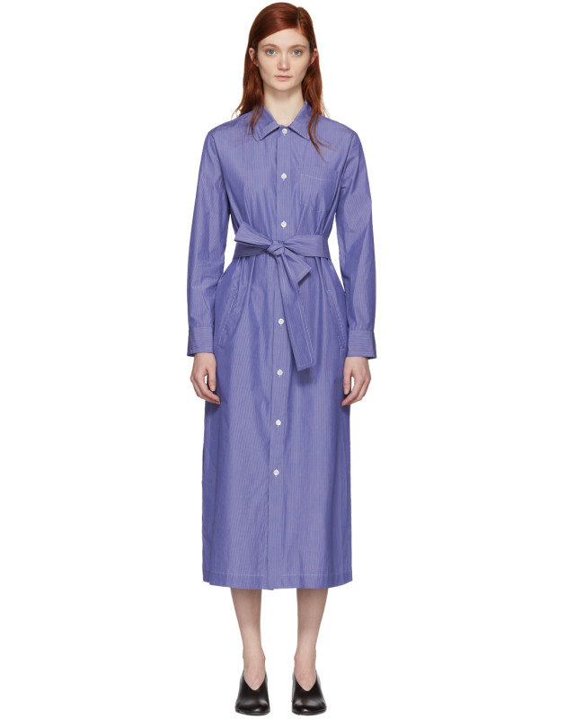 photo Blue and White Millie Shirt Dress by A.P.C. - Image 1