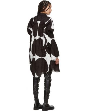photo Off-White and Black Oversized Polka Dot Gathered Shirt Dress by Junya Watanabe - Image 3