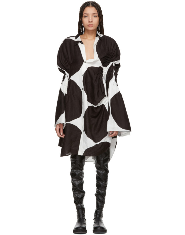 photo Off-White and Black Oversized Polka Dot Gathered Shirt Dress by Junya Watanabe - Image 1