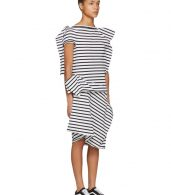 photo White and Black Skewed Striped T-Shirt Dress by Junya Watanabe - Image 2