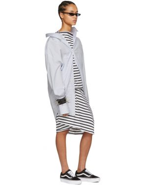 photo White and Black Skewed Striped T-Shirt Dress by Junya Watanabe - Image 5
