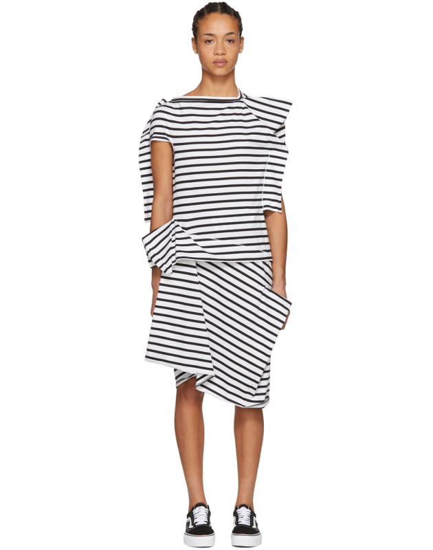 photo White and Black Skewed Striped T-Shirt Dress by Junya Watanabe - Image 1