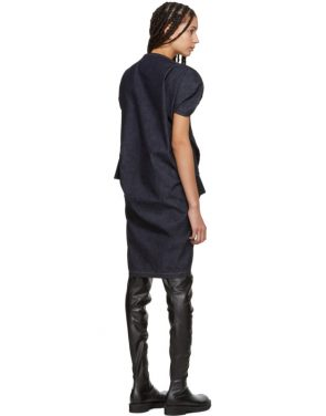 photo Indigo and Navy Pleated Denim Dress by Junya Watanabe - Image 3