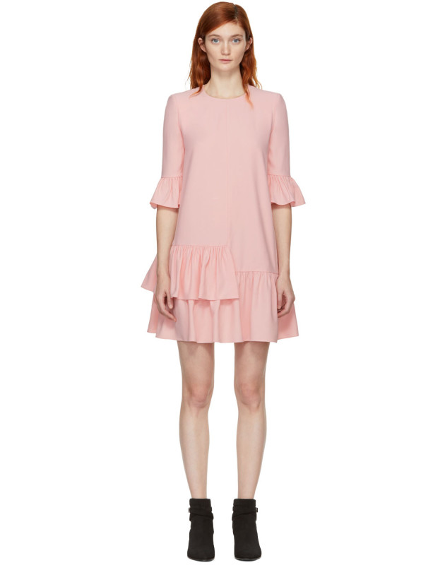 photo Pink Leaf Crepe Dress by Alexander McQueen - Image 1