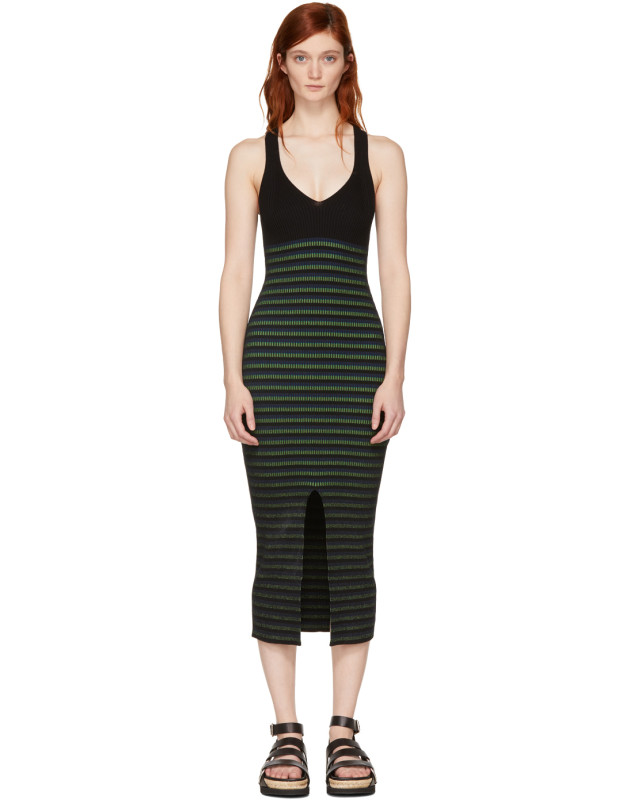 photo Black Striped Maxi Dress by Opening Ceremony - Image 1