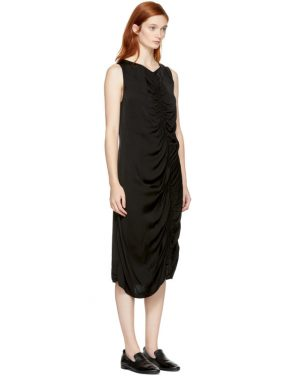 photo Black Liquid Satin Dress by Raquel Allegra - Image 2