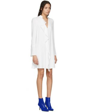photo White Satin Ruffle Dress by Proenza Schouler - Image 2