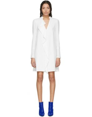 photo White Satin Ruffle Dress by Proenza Schouler - Image 1