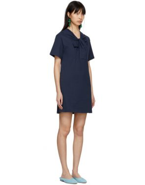 photo Navy Twist Detail T-Shirt Dress by Carven - Image 2